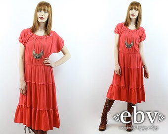 Boho Dress Hippy Dress Festival Dress Cotton Dress Summer Dress 1970s Dress 70s Dress Vintage 70s Hippie Dress Salmon Dress Coral Dress