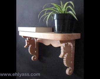 Solid wood by Ehlyass seahorse wall shelf