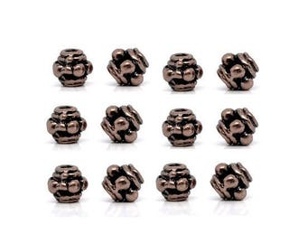 Set of 50 beads form Lantern coppered red 3.5 mm x 3.5 mm