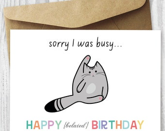 This is not a birthday card funny belated birthday card cat birthday card happy belated birthday cat digital card funny quirky printable birthday card bookmarktalkfo Image collections