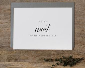 To My Aunt Wedding Day Wedding Card - To My Aunt Wedding Card, Wedding Stationery, To My Aunt Card, Thank You Wedding Card, Wedding Note, K7