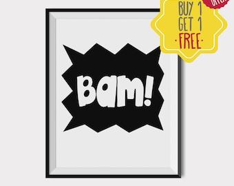 Bam bam design, Nursery decor, newborn announcement, Kids room decor, digital download, Black and white art, Printable art, quote prints art