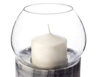 Oasis Marble Hurricane - Marble Hurricane - Modern - Pillar Candle Holder