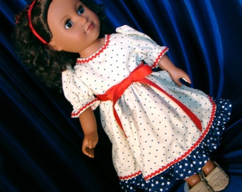 """Patriotic Dress with Red, Ivory & Blue Stars Doll Outfit; for American Girl Style 18"""" Dolls! School n Dress Up Doll Clothes."""