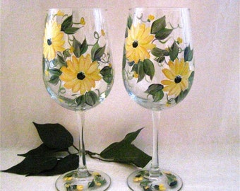 Black eyed susan hand painted wine glass free shipping