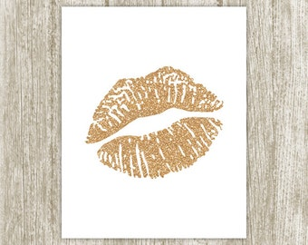 Dark Gold Lips Printable, Glitter Lips Wall Art, Lips Print, Digital Gold Kiss Print, Gold Lip Makeup Wall Decor, 8x10 Instant Download