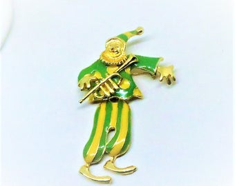 Clown Brooch - Vintage, Gold Tone, Yellow and Green Enamel, Trumpet, Hinged Pin