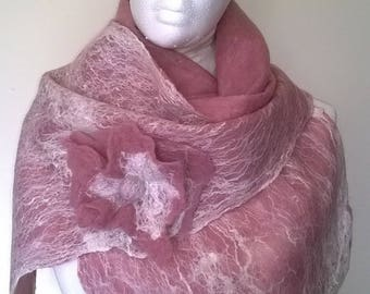 wet felted scarf with brooch