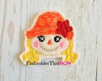 Girl Scarecrow Digital Feltie Embroidery Design File