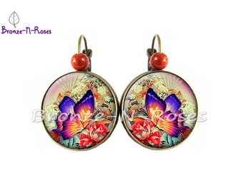 "Earrings ""Sublime"" papillon""orange fantasy glass sleepers bronze jewel cabochon"