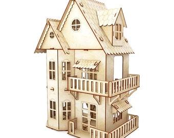 Victorian Dollhouse, dollhouse, Wood dollhouse, Dollhouse kit, Natural dollhouse, Modern dollhouse, 1:12 scale