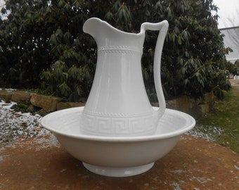 "White Ironstone Pitcher and Bowl ""Olympic Shape"" Greek Key Ewer Wash Basin English Rare Early Matching Set China Elsmore and Forster c. 1864"