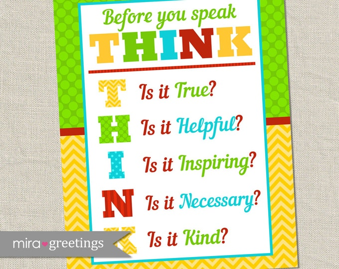 Classroom Rules Art DIGITAL File - teacher room decoration - before you speak THINK poster - INSTANT download Printable Digital File