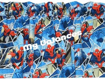 Spiderman window curtain VALANCE * blue red white grey * kids boys girls room * playroom bedroom nursery