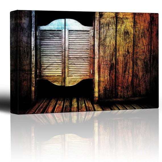 Like this item?  sc 1 st  Etsy & Wall26 Entry to a wild west saloon Cantina batwing doors