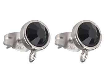 A pair of round stainless steel and black 10 mm rhinestone earrings.
