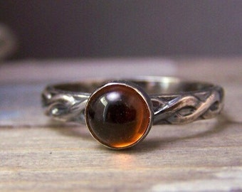 Amber Ring - Baltic Amber Ring - Sterling Jewelry