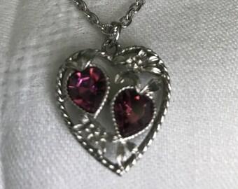 Amethyst Filigree Heart Pendant