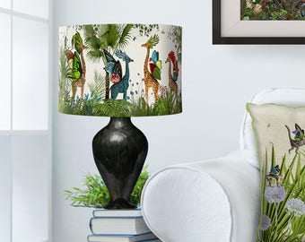 Lamp shade tropical toucan drum lampshade toucan decor lamp shade tropical giraffes bright drum lampshade giraffe decor jungle tropical decor nursery lampshade kids room lighting boys room girls mozeypictures Gallery