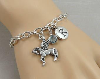 Pegasus Charm Bracelet, Winged Horse Bracelet, Initial and Birthstone Bracelet, Silver Plated Link Charm Bracelet