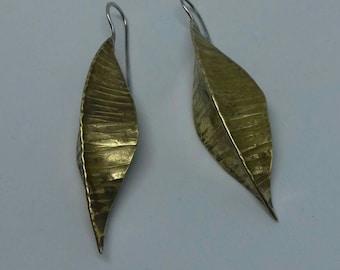 Brass earrings in fold forming technique
