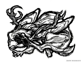 "Hand-pulled Linocut - ""Year of the Jackalope"""