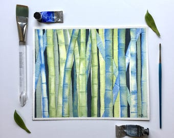 Bamboo in blue 8x10