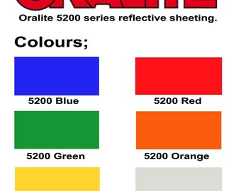 "Reflective Vinyl Sheets - Oralite 5200 - 9.8"" x 7.8"" (25 x 20 cm). 6 colors available. Decal Vinyl, Self Adhesive Vinyl, Craft Vinyl"