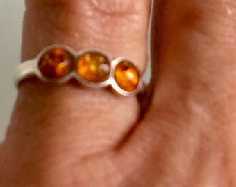Amber Pinky Ring