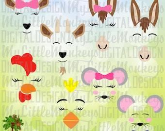 Farm Animal Faces Bundle 2, Goat svg, Donkey svg, Rooster svg, Chicken svg, Mouse svg, Commercial Use SVG, Clip Art, Cut File, eps, dxf, png