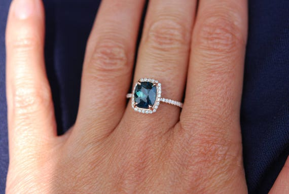 Peacock sapphire engagement ring. 2ct cushion cut blue green sapphire ring diamond ring 14k Rose gold ring by Eidelprecious