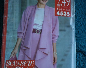 See & sew Now 4535 Women's Misses swing coat, Top and skirt sz 6-14,