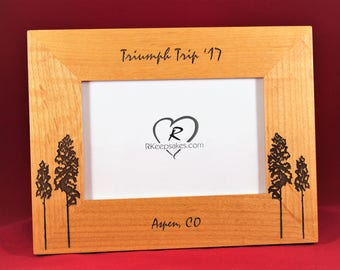 Trees, Aspen Trees, Personalized Engraved Picture Frame, Any Text