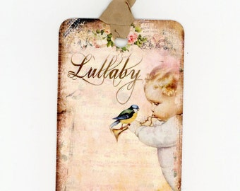Tags , Baby Gift Tags , Baby Shower Tags , Lullaby , Bird , Shabby , Chic