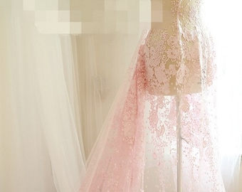 Pink Dot Floral lace fabric Luxury Sequins French Lace Wedding Dress Lace 55'' Wide 1 Yard S0322