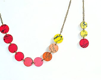 Red pink yellow Wooden necklace Brass chain necklace Color block Handpainted necklace Geometric necklace Modern Wood Lightweight jewelry