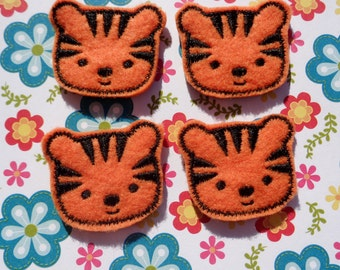 Tiger felties DIY Hair Clips Felt Embroidery Embellishment Orange and Black Tiger felties