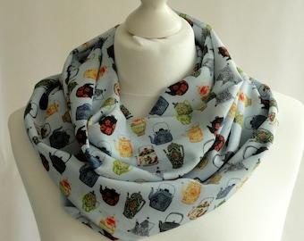 Teapot print infinity scarf, Gift for tea lover, Vintage teapot print scarf, Circle scarf, Scarf with teapot print, Lightweight scarf