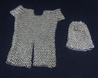 Handmade Tiny 1/10 Chainmail and Coif with a Stand