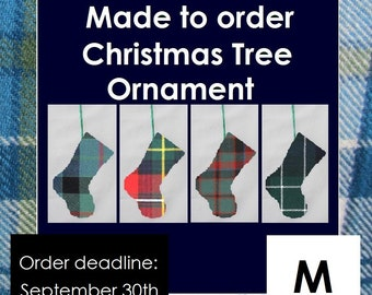 Mini-tartan stocking in names starting with M like Malcolm, Marr, Marshall, Matheson, Maxwell, Melville, Menzies, Middleton, Mitchell,
