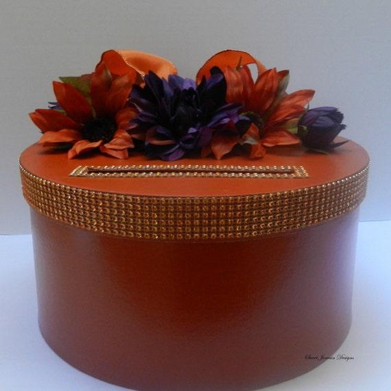Fall Wedding Card Box Ideas: Items Similar To Fall Wedding Card Box Orange & Purple On Etsy