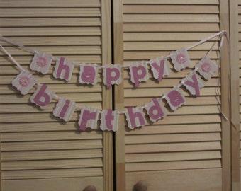 Girls Birthday Party Banner, Pink Sparkle Birthday Banner, Hand Made Happy Birthday Banner
