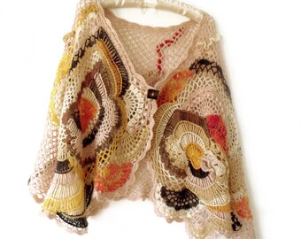 Boho crochet poncho Poncho cape Boho cape poncho Crochet cape shawl Cape poncho wrap Freeform crochet cape Asymmetric cape Wool poncho shawl