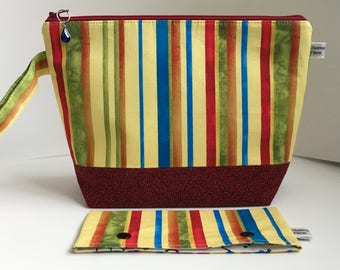 ChestnutFibres Zippered Knitting/Crochet Project Bag, Zippered Travel/Cosmetic/Accessory Pouch