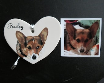 Pet Portrait Keepsake Ceramic Ornament Hand Painted and Made to Order by Shannon Ivins