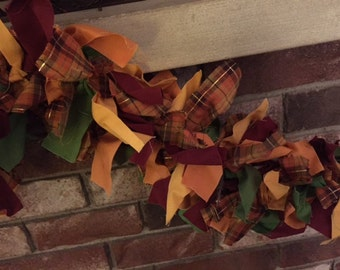 Fall Plaid Lighted Fabric Garland