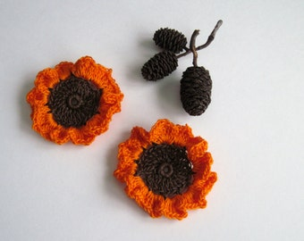 2 Crochet Flowers - Brown with Orange Ruffles - Set of 2