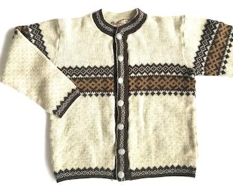 Vintage Finnish cardigan Scandinavian knitted cardigan Nordic pattern cardigan yellow Brown Hand Knit Wool cardigan
