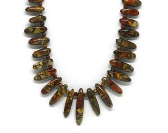 Big Fan: Red and Yellow Jasper Tusk Fringe Necklace
