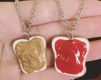 Peanut Butter and Jelly Best Friend Necklace/Key Chain Set